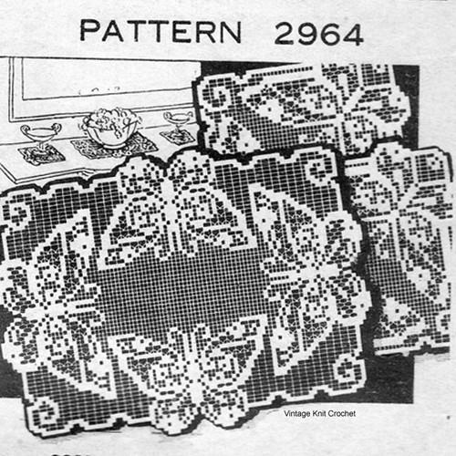 Butterfly Filet Crocheted Runner Mats Pattern No 2964