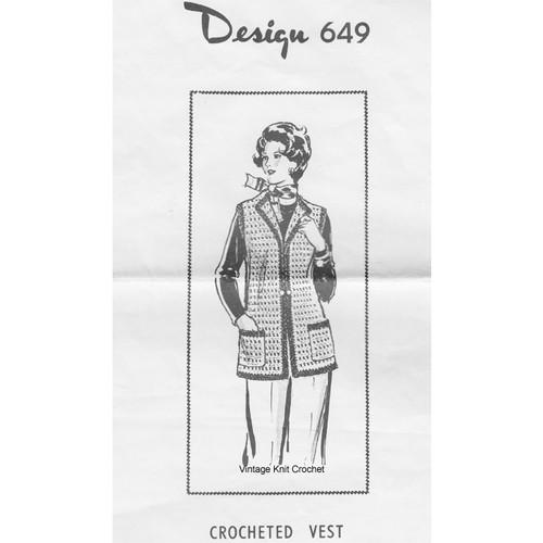 Womans Crochet Vest Pattern, Mail Order Design 649