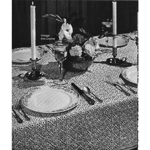 Crochet Tablecloth Pattern No 7744 in 2 inch squares joined to form a large cloth.