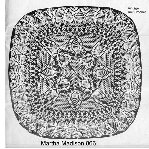 Square Crochet Doily Pattern in Pineapple Stitch with slight ruffled border.  Martha Madison 866.