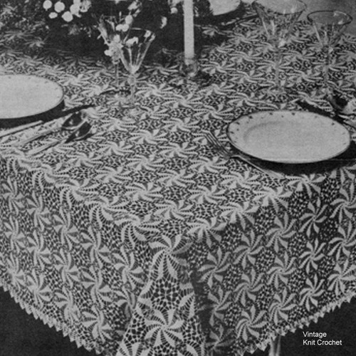 Vintage Pinwheel Square Crocheted Tablecloth Pattern No  7064