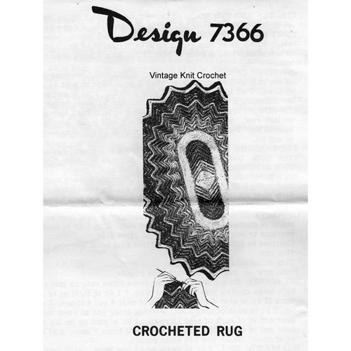 Crochet Scalloped Oval Rug Pattern, Design 7366
