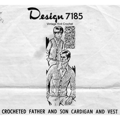 Boys Crochet Cardigan Vest Pattern, Design 7185