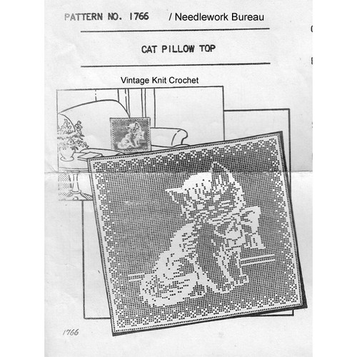 Kitten filet crochet square pillow pattern No 1766