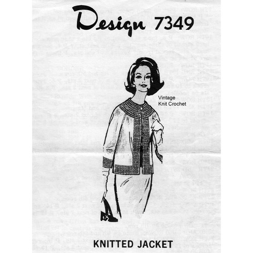 Knitted Stockinette Jacket Pattern, Mail Order Design 7349