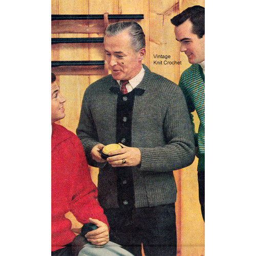 Knitting Pattern Mans Ribbed Cardigan, Vintage 1950s