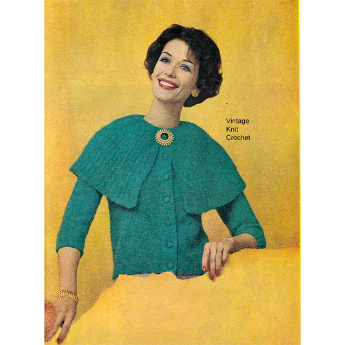 Vintage Knitted Cardigan, Cape Collar