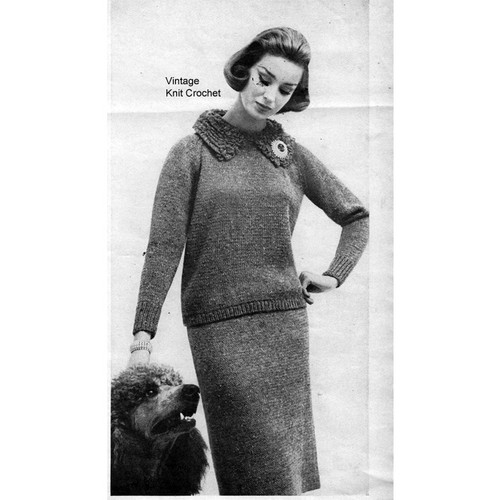 Knitting Pattern Poodle Collared Two Piece Dress