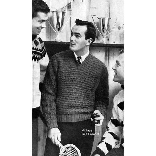 Mans Ribbed Pullover Knitting Pattern