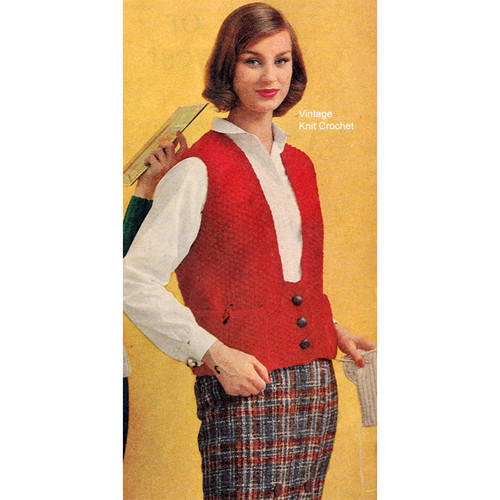 Easy Vest knitting pattern in seed stitch