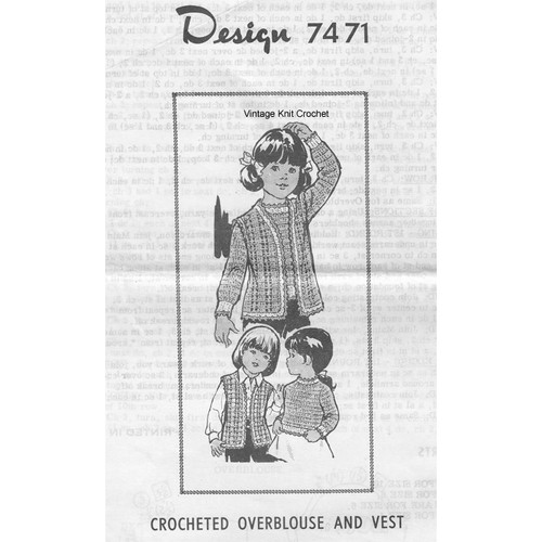 Childs Crochet Pullover & Vest Pattern, Mail Order 7471