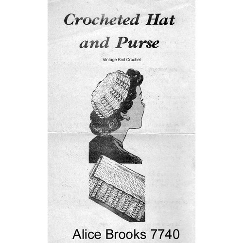 Crochet Hat Bag Pattern in Popcorn Stitch, Vintage Alice Brooks