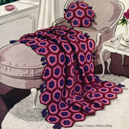 Crochet Hexagon Block Afghan Pattern, Vintage 1940s