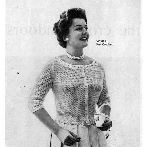 Womans Crocheted Ribbon Blouse Pattern, Vintage 1950s