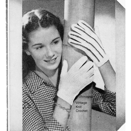 Vintage Crochet Short Gloves Pattern