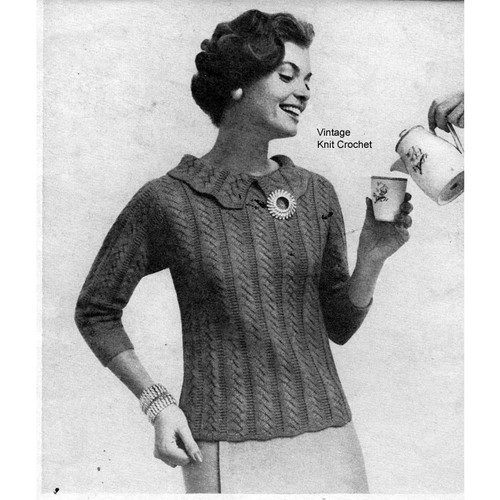 Knitted Herringbone Blouse Pattern, Scalloped Collar