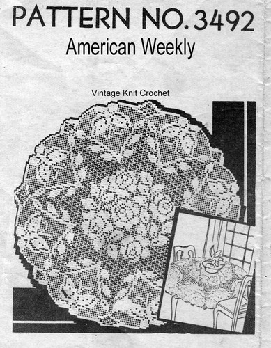 Round Filet Crochet Cloth Pattern, Rose Motif, American Weekly 3492