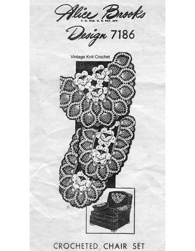 Pineapple Rose Crochet Chair Doily Pattern Design 7186
