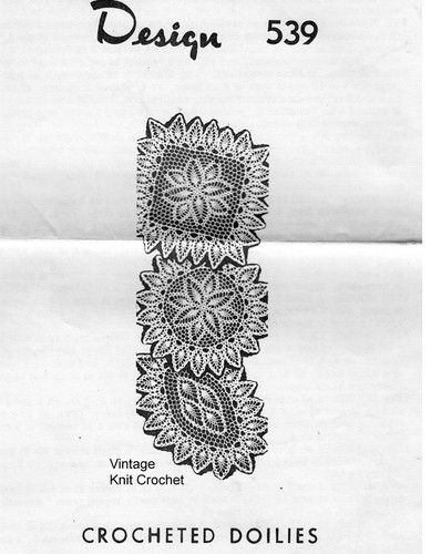 Square Crochet Pineapple Doily Pattern, Mail Order 539