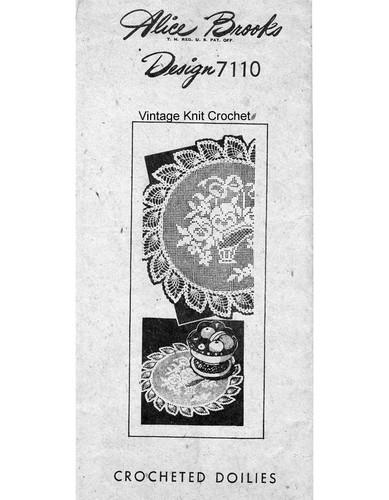 Pansy Filet Crochet Doily Pattern, Alice Brooks 7110, Mail Order Design