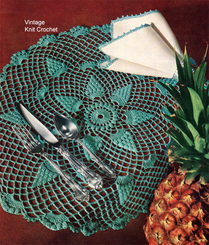 Crochet Pineapple Mats Pattern, Luncheon Set