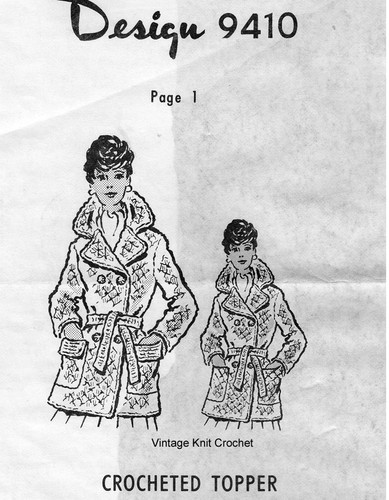 Crocheted Coat Pattern, Double Breasted, Design 9410