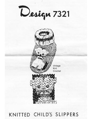 Childs Kitten Slippers Knitting Pattern, Design 7321