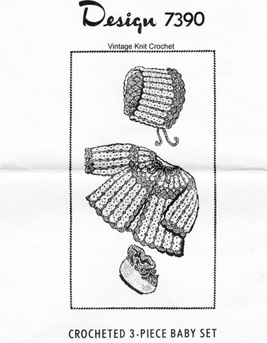 Crochet Baby Set Pattern, Shell Stitch, Mail Order 7390