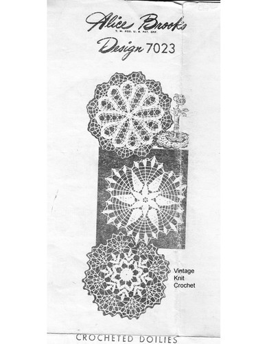 Crochet Star Flower Doilies Pattern, Mail Order Design 7023
