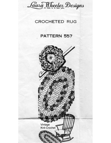 Rag Rug Crochet pattern, Flower Border, Mail Order 557
