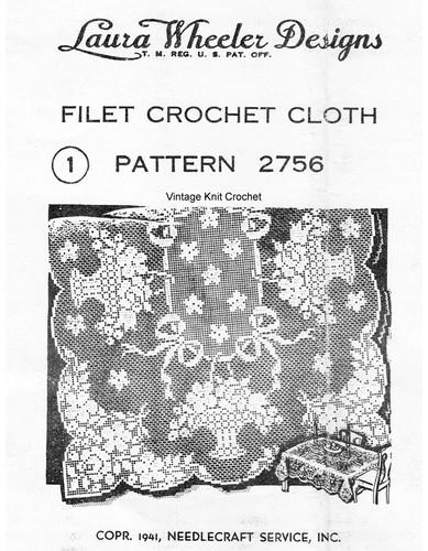 Rose Filet Crochet Cloth Pattern, Mail Order 2756