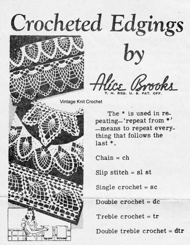 Pineapple Crocheted Edgings Pattern, Mail Order 7263