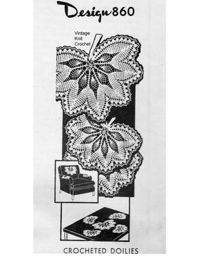Large Crochet Leaf Mats Pattern, Mail Order 860