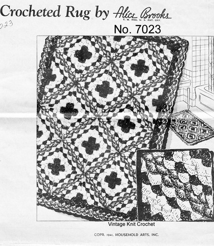 Vintage Crochet Rug Pattern, Square Blocks, Mail Order 7023
