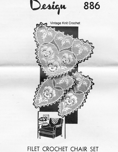 Pansy Filet Crochet Buffet Set Pattern, Mail Order 886