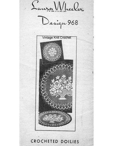 Rose Filet Crochet Doilies Pattern, Mail Order 968