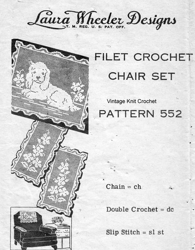 Filet Crochet Puppy Doily pattern, Mail Order 552
