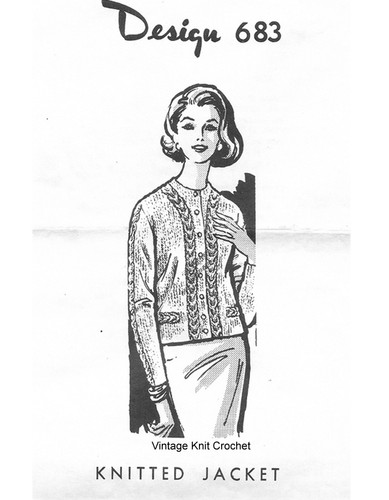 Mail Order Knitted Cable Jacket Pattern, Design 683