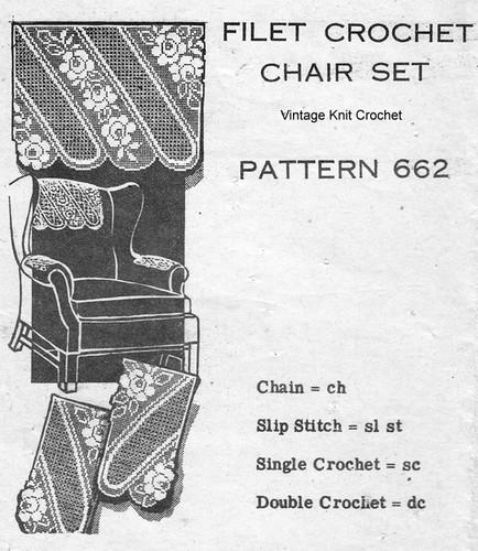 Rose Stripe Filet Crochet Chair Doily Pattern Design 662
