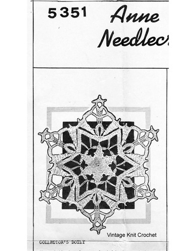 Crochet Snowflake Doily Pattern, Mail Order 5351