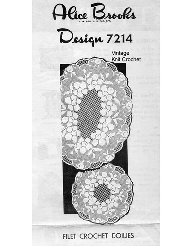 Filet Crocheted Flower Doilies Pattern, Mail Order 7214