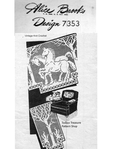 Horse Filet Crochet Pattern, Chair Set, Mail Order 7353