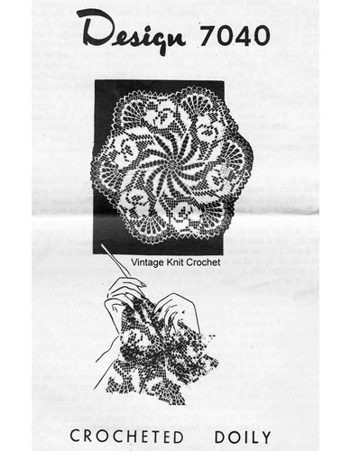 Pansy Centerpiece Crochet Doilies Pattern, Mail Order 7040