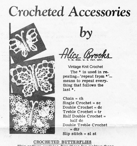 Crochet Butterfly Applique Pattern, Mail Order 7334