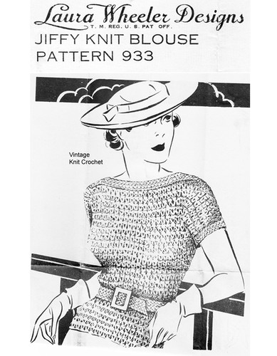 Vintage 1930s Knitted Blouse Pattern, Laura Wheeler 933
