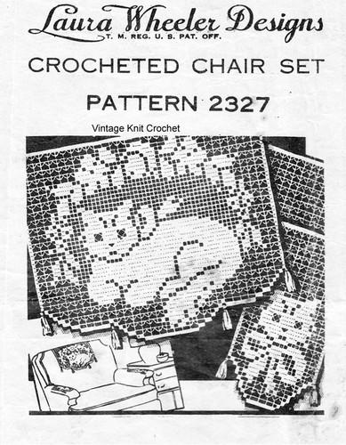Kitten and roses filet crochet pattern, Laura Wheeler 2327