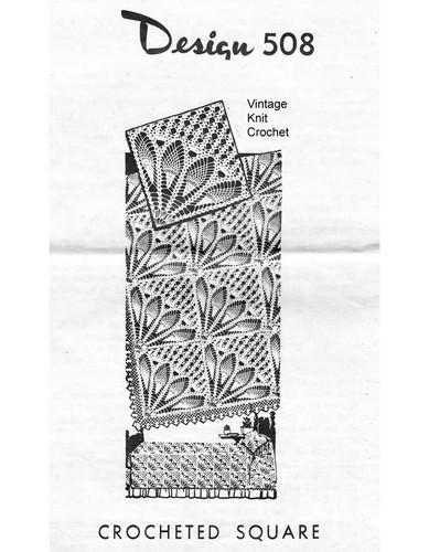 Pineapple Fan Crochet Square Pattern, Mail Order 508