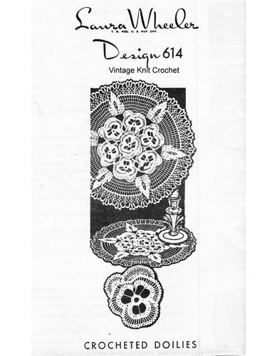 Vintage Pansy Medallion Doily Pattern, Mail Order 614