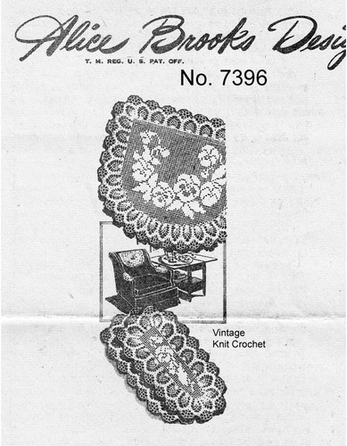 Filet Crochet Pansy Doily Pattern, Chair Set, Mail Order Design 7396
