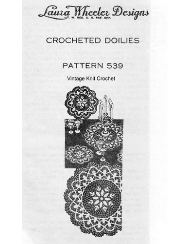 Crochet Flower Lace Doilies Pattern, Mail Order Design 539